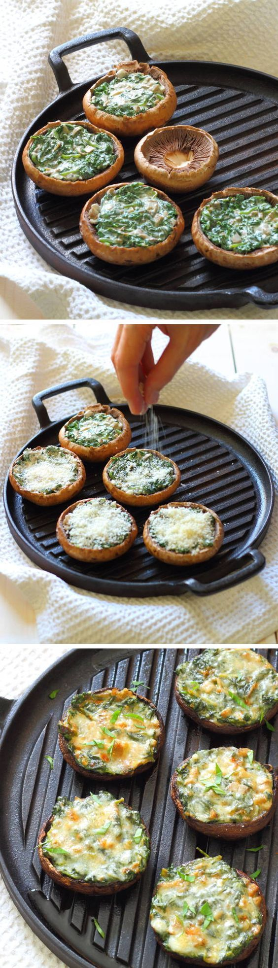Creamy Spinach Stuffed Mushroom Recipe - Portobello mushrooms stuffed with creamy garlic spinach, then topped with grated parmesan - a great appetizer or light lunch!   @slcekitchenlife sliceofkitchenlife.com