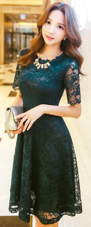 StyleOnme_Lace Short Sleeve A-Line Dress #green #dress #lace #koreanfashion…