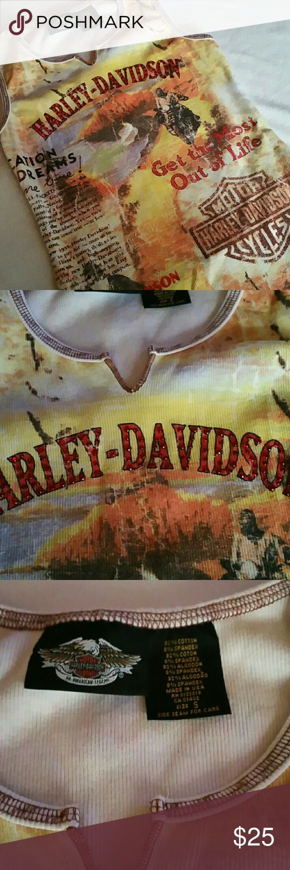 Harley Davidson Tank Top Small Vaca Dreams Like new, HD sleeveless top. No dealer print. Vacation Dreams graphic design. Rib knit, v neck purchased in Honolulu, Hawaii. Finished edges. Fits true to size, small. Please be sure to bundle to save on items and combined shipping! XOXO, Leslie Harley-Davidson Tops Tank Tops