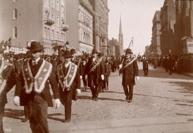 St. Patrick's Day Parades of the 1800s Became Potent Political Symbols: Marchers in the St. Patrick's Day parade in New York City in the 1890s