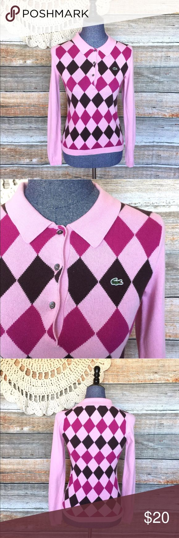 """Lacoste Pink Argyle Cashmere Blend Sweater Bust: 28"""" Length: 22"""" Small spot on sleeve as seen above. All my items have been freshly washed and steamed. If you have any questions, feel free to message me. Thanks for stopping by and have a lovely day! Lacoste Sweaters"""
