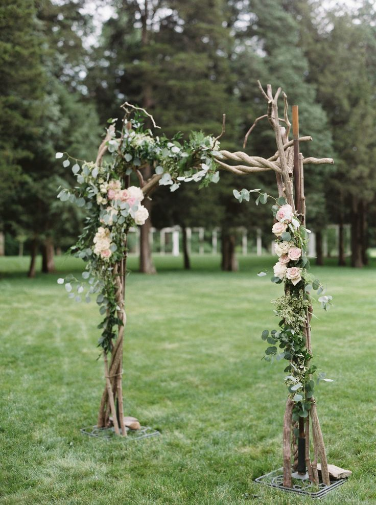 Romantic wedding arbor, outdoor wedding ceremony, rustic-romance, white and pink flowers, wooden branches, follow this board for more wedding arbor inspiration // Alicia Ann Photographers