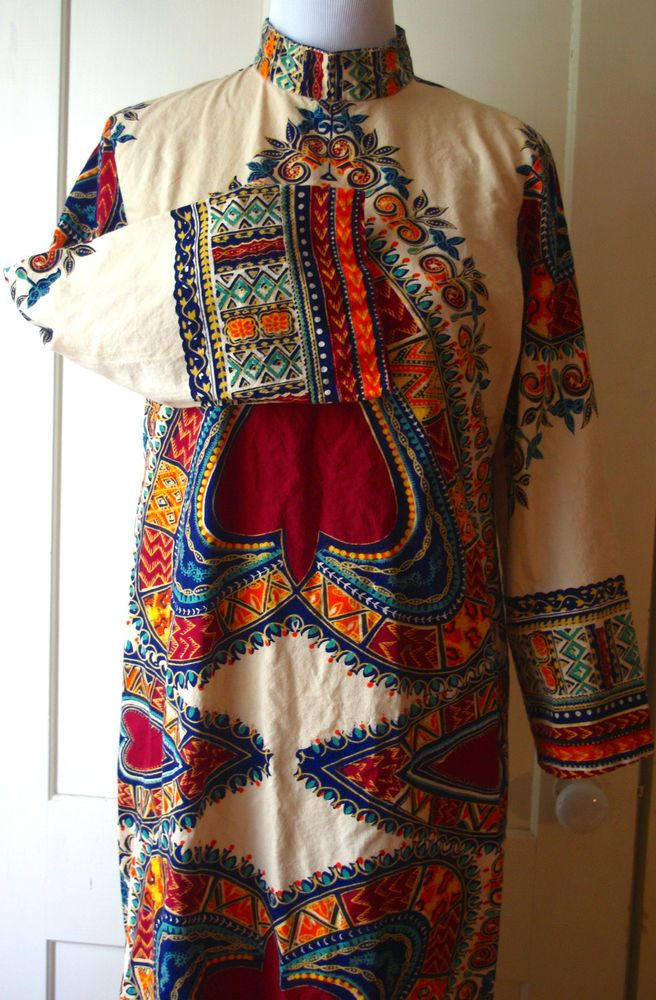TRUE Vtg Caftan Maxi Dress India/Mexican Hippie Festival Cotton Boho Aztec MCM M #Unbranded #Caftan