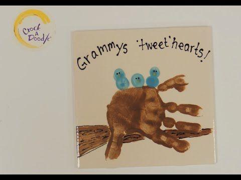 Crock A Doodle Pottery Painting Technique: Nest Hand Print & Bird Finger Prints - YouTube