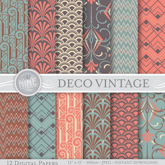 Art Deco Digital Paper: VINTAGE ART DECO Pattern Prints  *Great for use on greeting cards, invitations, printable projects, party packs. paper
