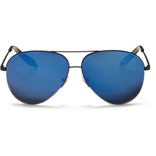 Victoria Beckham 'Classic Victoria' mirror aviator sunglasses ($570) ❤ liked on Polyvore featuring accessories, eyewear, sunglasses, blue, blue aviator glasses, aviator sunglasses, victoria beckham, mirror glasses and victoria beckham sunglasses