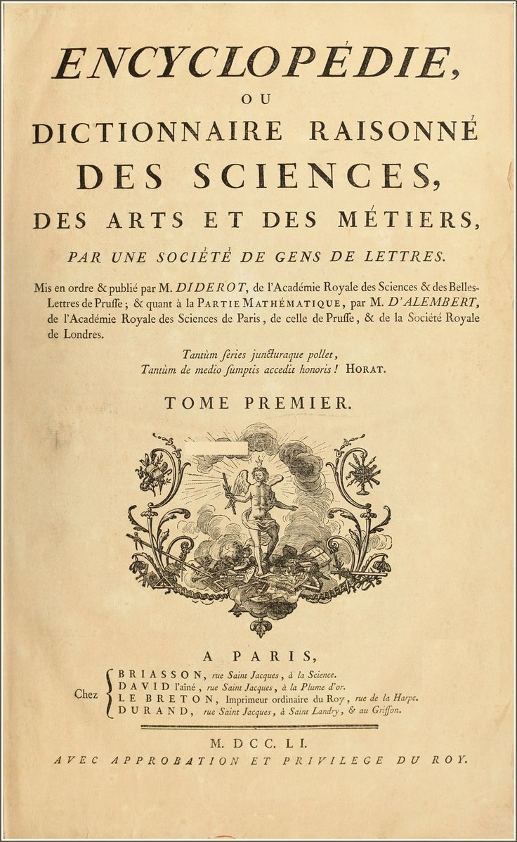 title page of the Encyclopedie de Diderot et D'Alembert, discussed in this section's video