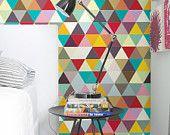 """Patrón de mosaico de colores - autoadhesivo papel tapiz de bricolaje, decoración del hogar, Peel n palillo de 20.9 """"x8"""" - G041"""