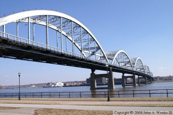 Centennial Bridge over the Mississippi River - Quad Cities area;  photo by John A. Weeks III