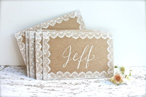 Lace Wedding Place Cards  Escort Cards  Name by ThePaperWalrus, $1.50