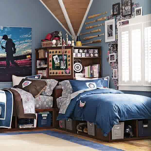 Teen Room Awesome Blu Theme Boy Bedroom Decorating With Some Baseball Stick Adhering Blue