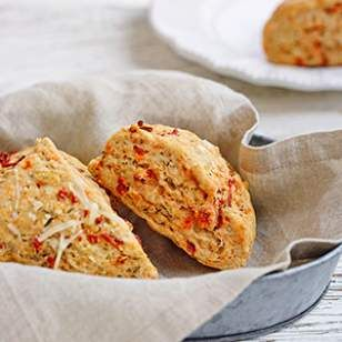 No bakery degree required for this recipe: these healthy, savory sun-dried tomato-and-Asiago scones are as easy to make as a batch of muffins.