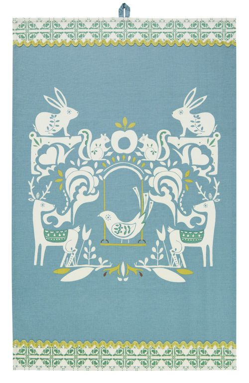 Cotton Tea Towel With Loop For Hanging. Size: 74 X 48 Cm.