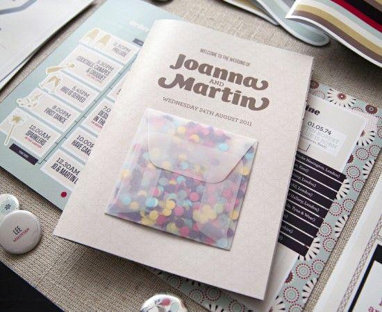 Idea: sobre con confetti para tirar a los novios adosado.