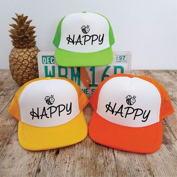 a0a4a67bd Bee Happy Hat. Bee Hat. Trucker Hat. Honey Bee. Bumble Bee. Be Happy ...