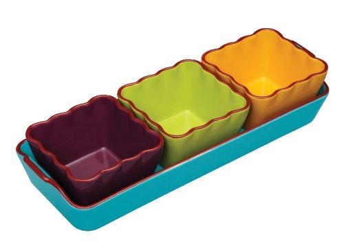 Kitchen Craft World of Flavours Mexican Ceramic Dip Serving Set, Set of 4