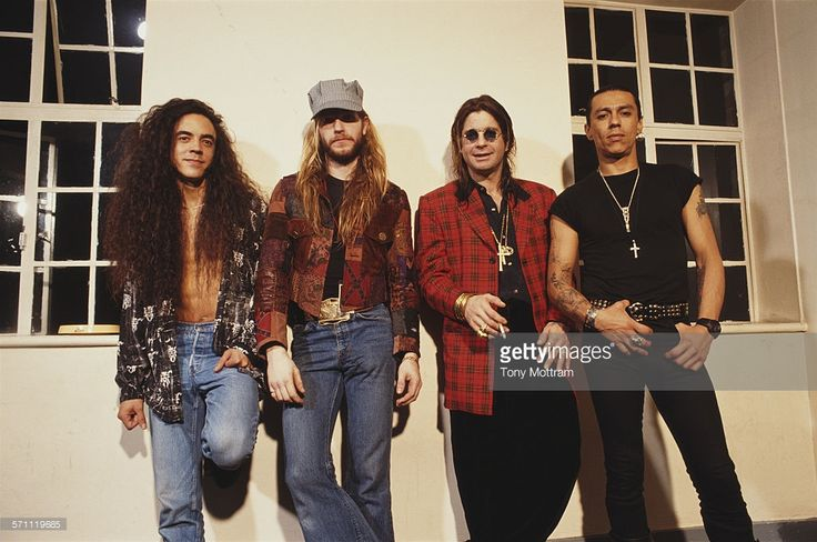 Portrait of British heavy metal musician Ozzy Osbourne (second right) and his band, 1992. Pictured are, from left, Mike Inez, Zakk Wylde, Osbourne, and Randy Castillo (1950 - 2002).