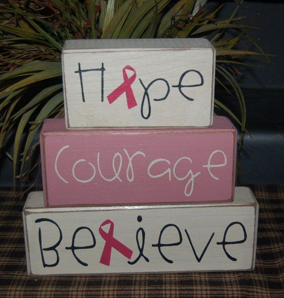 Wood block decor. cute decorations for breast cancer benefit, or silent auction
