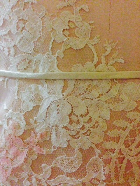 Ivory & blush-dyed Chantilly lace tea-length gown #EcoBride