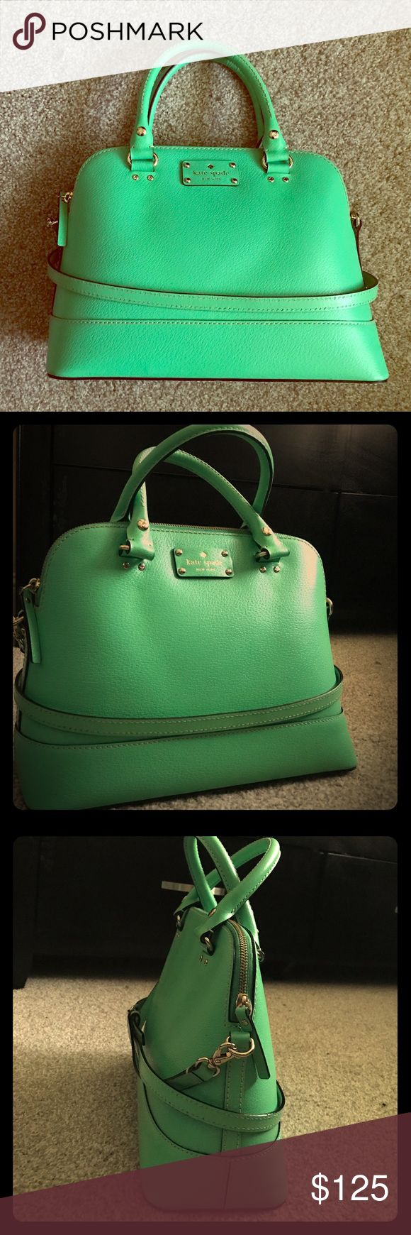 Kate Spade Wellesley Satchel Bright green Wellesley satchel (Authentic and Leather) Comes with dust jacket, no wear/tear. Purchased at Kate Spade outlet in Wrentham, MA. kate spade Bags Satchels