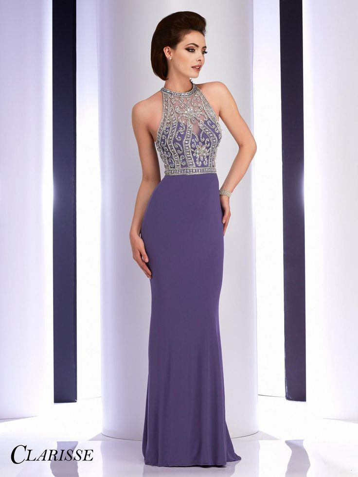Long, tight fitted and elegant sparkly silver embellished prom dress by Clarisse. Style: 2807. Available in: Grey & Burgundy. Sizes: 00-16