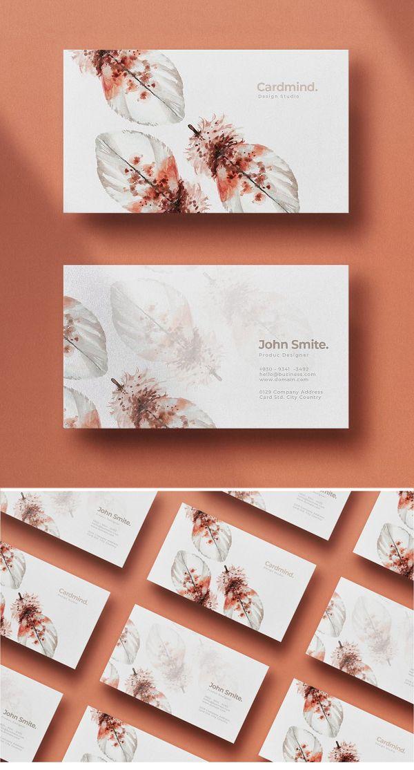 Feather Business Card Business Card Design Minimal Simple Business Cards Business Card Template Design