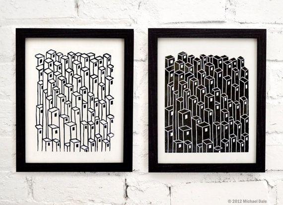 Downtown+City+Buildings+Pair+Linocut+Block+Prints++by+CoffeeInBed,+$36.00