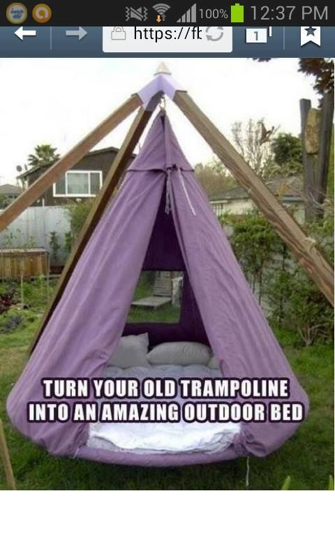 17 best images about trampoline upcycling on pinterest for Trampoline porch swing