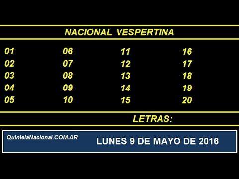 Quiniela Nacional Vespertina Lunes 9 de Mayo de 2016 www.quinielanacional.com.ar