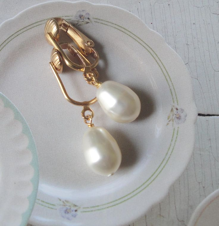 Wedding Pearl Earrings On Gold Tone Vintage Wishbone Style Ear Wires   Special Gift For Her by OceanaireDreamer on Etsy
