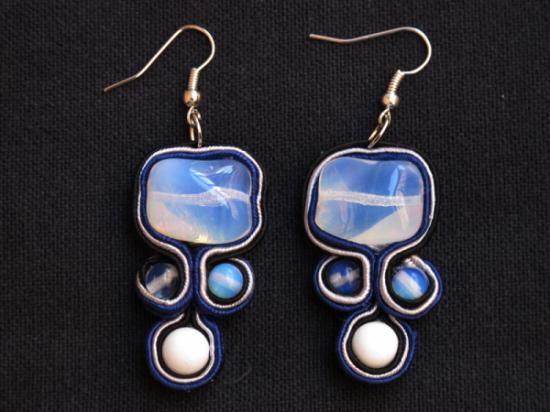 orecchini in soutache e opale