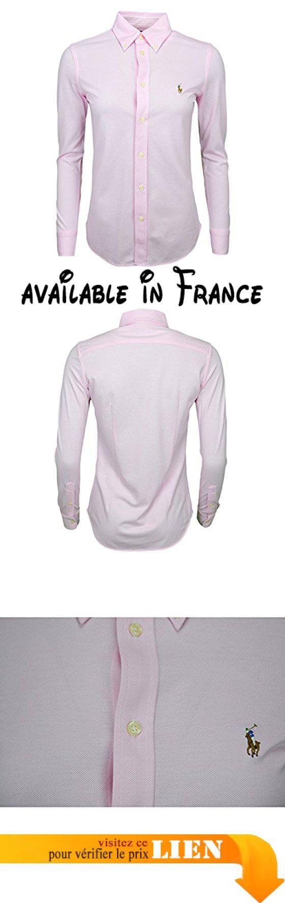 B074G4BXKL : Chemise polo Ralph Lauren en coton piqué rose pour femme.