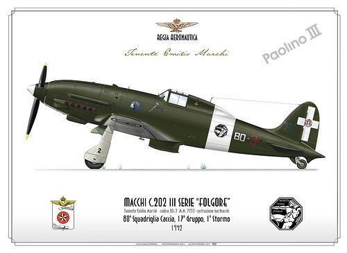 CC-09-C202-Paolino III    Manufacturer: Aermacchi  Model: C.202 Folgore  Serial s/n: M.M.7753   Tail Code: 80-3  c/n: III serie costr. AerMacchi    ITALIAN AIR FORCE (WW2) . REGIA AERONAUTICA    Tenente Emilio Marchi  80a Squadriglia Caccia, 17° Gruppo, 1° Stormo