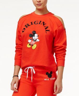 Disney Juniors' Original Mickey Mouse Cold-Shoulder Sweatshirt | macys.com