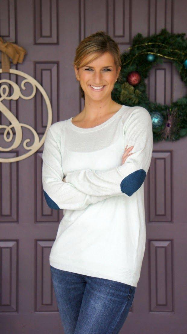 February Stitch Fix Review [One Of My Favorites Yet] Market & Spruce - Fierro Elbow Patch Crew Neck Sweater @stitchfix