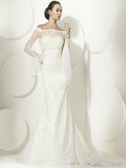 Best Hairstyle For V Neck Wedding Dress : 37 best bateau & illusion images on pinterest