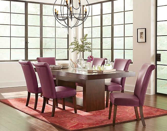Perfect Beautiful Wide Back Parsons Chairs Upholstered In A Bright Plum Color Are  Stylish AND Easy