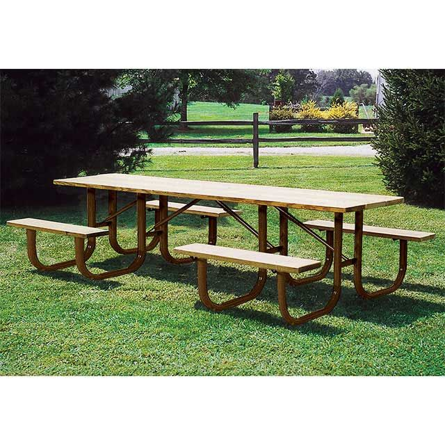 """10' Heavy-Duty ADA Picnic Table – Portable. Available in 10' length with walk-thru design. Overall Dim: 120""""L x 62""""W x 30""""Ht. 298 Lbs. All MIG welded frame with zinc or galvanized plated hardware. Frame available in 2 3/8"""" O.D. pipe with 1 5/16"""" O.D. brace. Pre-drilled holes for surface mounting frame. Zinc coated, powder coated galvanized legs. Available in 2"""" x 10"""" Untreated Pine, Treated Pine, Redwood Stained Pine and Aluminum planks."""