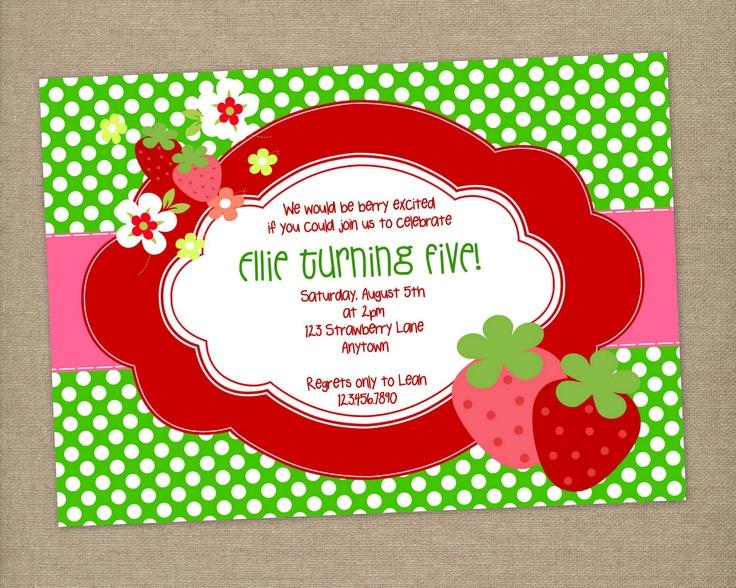 strawberry birthday invitation - 736×588