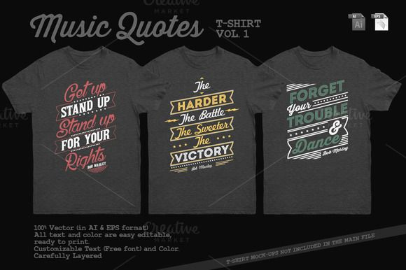 Music Quotes T-Shirt Template Vol. 1 by Rooms Design Shop on @creativemarket