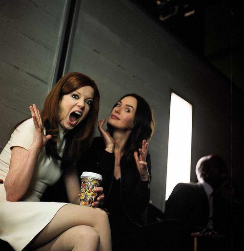 Shirley Manson and Lena Headey on the set of Terminator: The Sarah Connor Chronicles