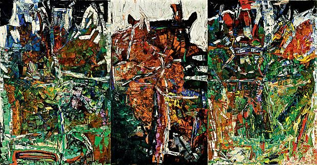 jean paul riopelle | Les Picandeaux 1967 oil on canvas in three panels Follow the biggest painting board on Pinterest www.pinterest.com/atelierbeauvoir