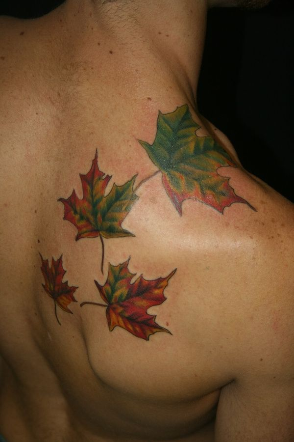 leaf leaves fall colors tattoo.....wouldn't do but the leaves are realistic!