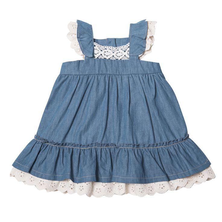 Bebe by Minihaha Indigo Suzy Chambray Dress W Lace XS14231