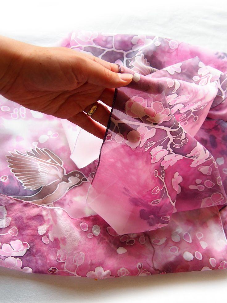 #silk #scarf #handpainted #cherryblossom #sakura #cherry #blossom #spring #pink #birdscarf #bird #sparrow #animal #art #mothersday #giftformom #gift #birdgift