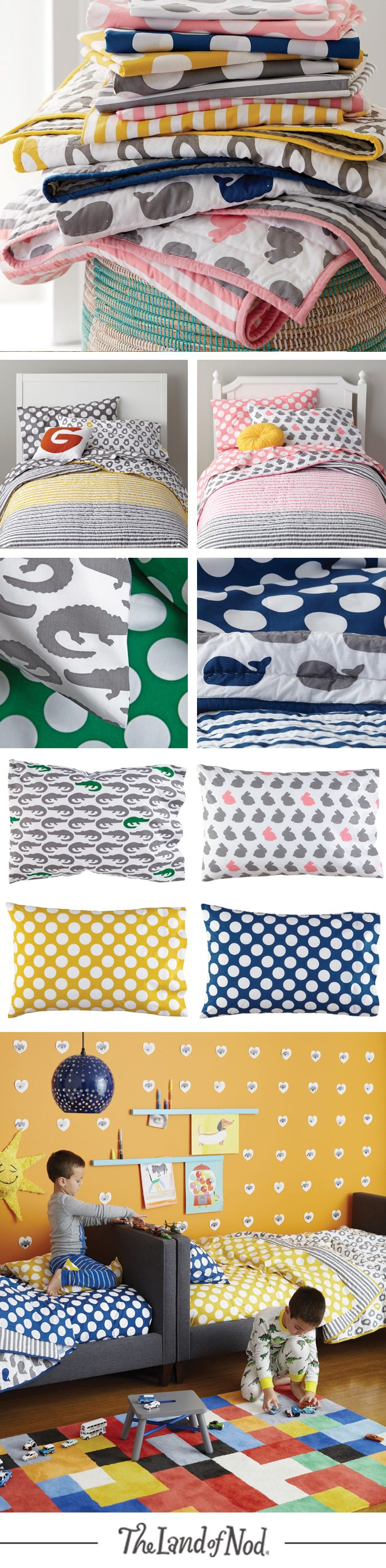Our modern New School bedding will fit snuggly in your kids bedroom. The collection is made from super soft 100% cotton and features animal prints and polka dots sure to brighten your kids or toddlers bed. Mix and match the styles for a one-of-a-kind look.
