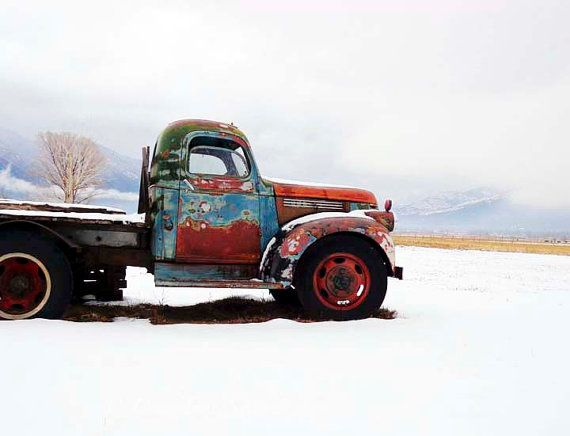 Rusty Chevy Winter Vintage Taos Truck - Turquoise Old Chevrolet Pickup - 8x8 Photograph - Fine Art Home Decor