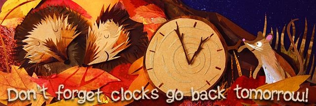 Don't forget clocks go back tomorrow! Cute illustration for end of British Summertime with hedgehogs.  BBC homepage.