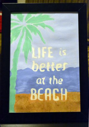 Acrylic on paper 2013 Life is better at the beach Size: 20 x 29 cm