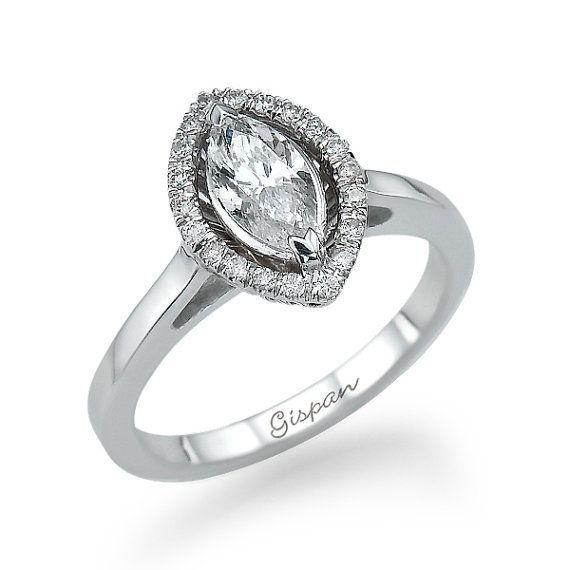 Unique Engagement Ring White Gold Diamond By Gispandiamonds